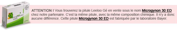 pilule Leeloo Ge et Microgynon Bayer