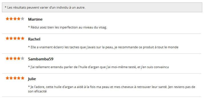 Les avis d'utilisateurs de l'huile d'argan Skinception
